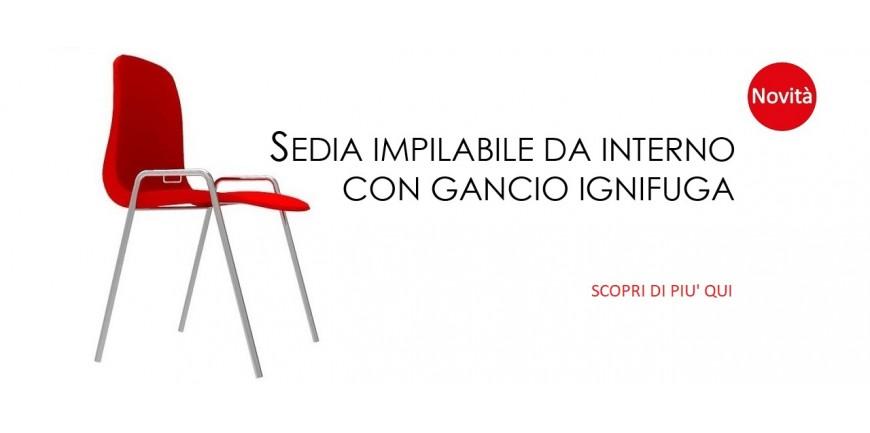 SEDIA IMPILABILE DA INTERNO CON GANCIO SEDUTA IGNIFUGA CLASSE1