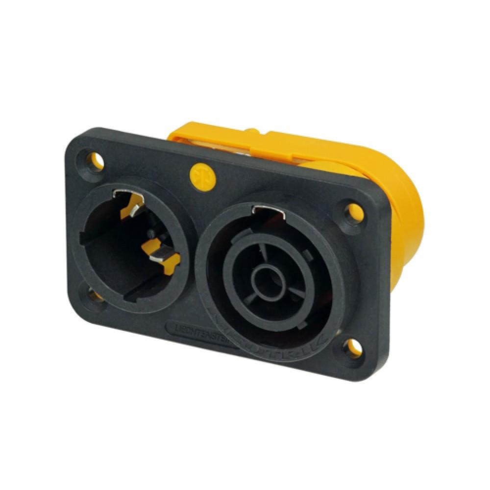 Doppio connettore Powercon True1 Neutrik NAC3PX da pannello per ingresso/uscita alimentazione