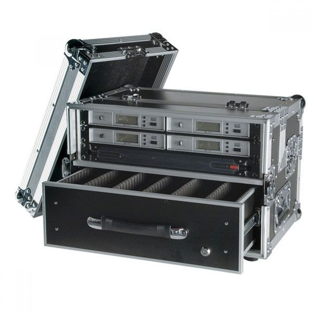 Flightcase porta microfoni wireless da 3 unità con cassetto DAP-Audio D7519B