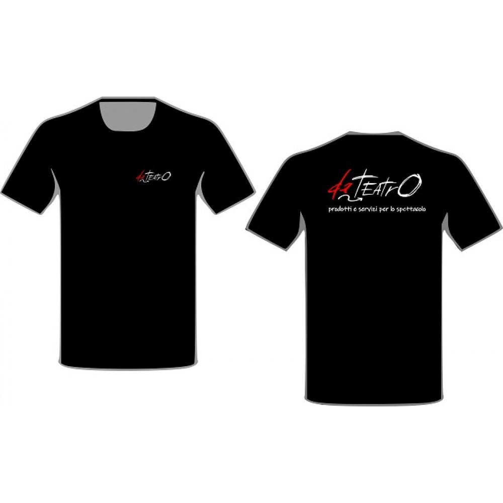 Maglietta T-Shirt manica corta girocollo con stampa logo DaTeatro lato cuore e retro spalla Taglia S M L XL Colore Nero