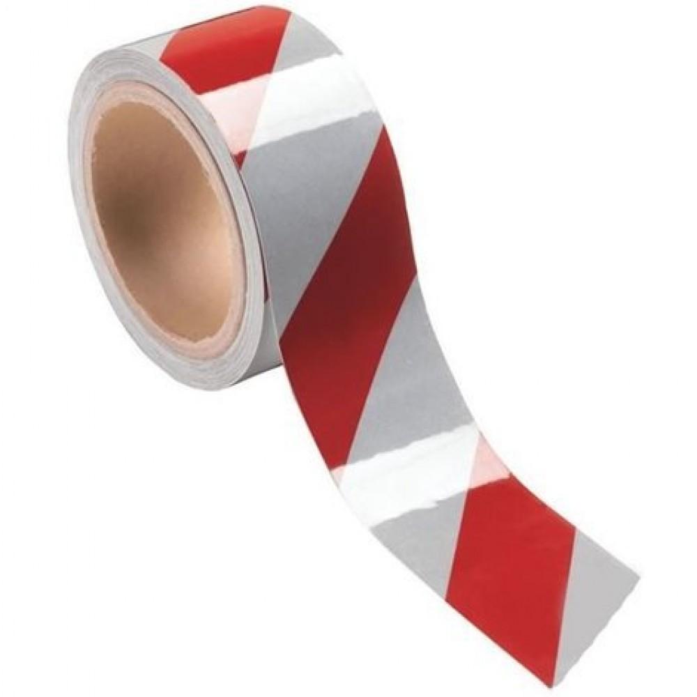 Nastro adesivo per segnaletica colore rosso bianco 33mX50mm