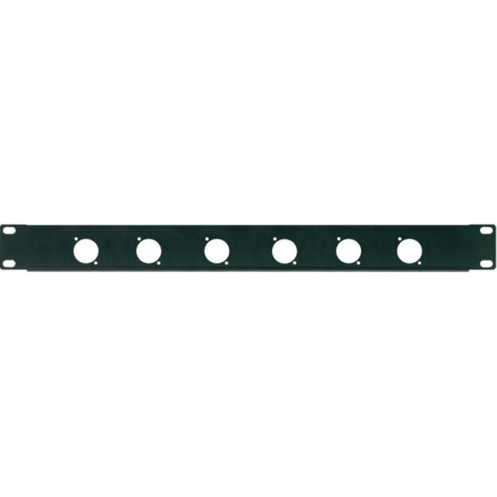 Pannello preforato 1U rack da 19 con 6 fori per connettori da pannello XLR o SPEAKON da 24 mm