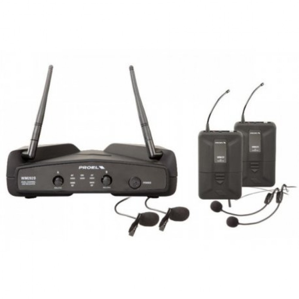 PROEL DOPPIO MICROFONO ARCHETTO WM202DH UHF WIRELESS DUAL CHANNEL