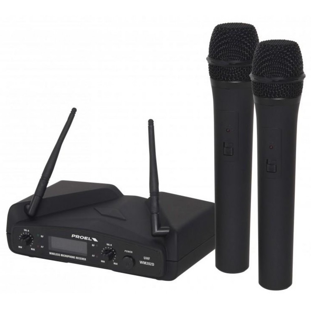 PROEL DOPPIO MICROFONO PALMARE WM202DM UHF WIRELESS DUAL CHANNEL