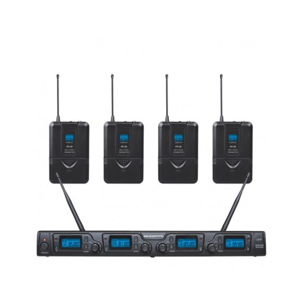 SET RADIOMICROFONO PER TEATRO WIRELESS ZZIPP TXZZ642-4 ARCHETTI UHF 16 CANALI-4 BODYPACK-4 LAVALIER