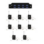 Sistema Microfonico Wireless 8 canali per teatro - UHF 1000 Canali - 8 Archetti - 8 Bodypack