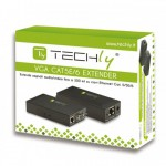 Techly Amplificatore Extender VGA e Audio su Cavo di Rete CAT.5E-6 EX-DL344